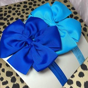 Other - Set of 2 Blue Girls elastic bow headbands